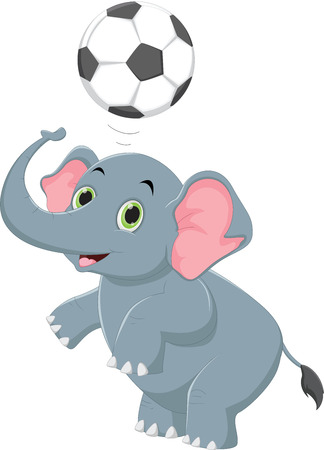 A funny cartoon elephant playing ball isolated on light background Ilustração
