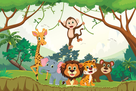 Illustration of happy animal in the jungle.