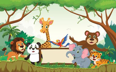 Wild animal cartoon with blank sign Vector illustration.