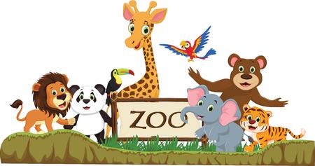 funny zoo animals cartoon Vector illustration. Ilustração