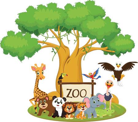 illustration of funny zoo animal cartoon isolated on white
