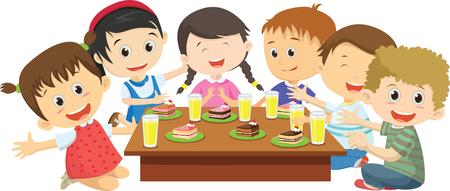 Happy kids eating dinner together on dining table Ilustração