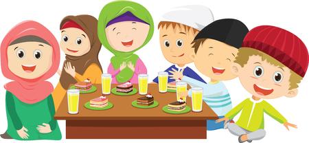 Niños y niñas musulmanes felices cenando juntos en ayunas Ilustración de vector