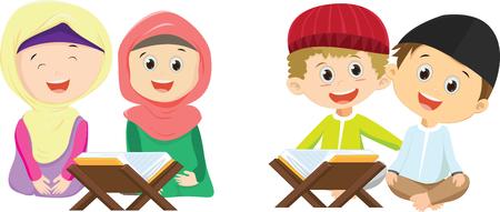 Happy boys and girls reading together Ilustração