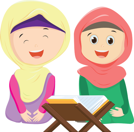 Happy two Muslim girls reading a book together vector illustration