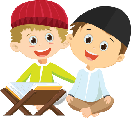 Happy two Muslim boys reading a book together vector illustration Çizim