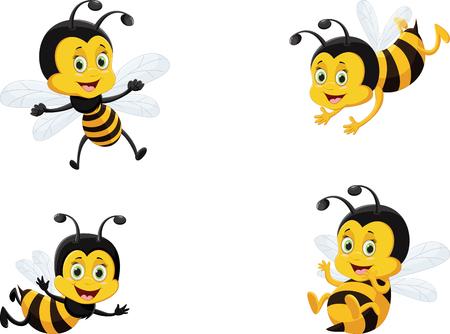 conjunto de ilustración vectorial de abeja de dibujos animados lindo Ilustración de vector