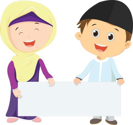 Muslim Kids holding blank sign