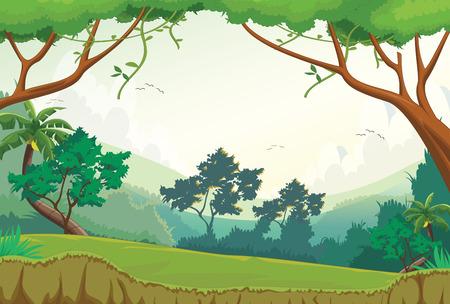 Ilustración de vector de escena del bosque durante el día
