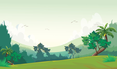 Vector illustration of forest scene at day time