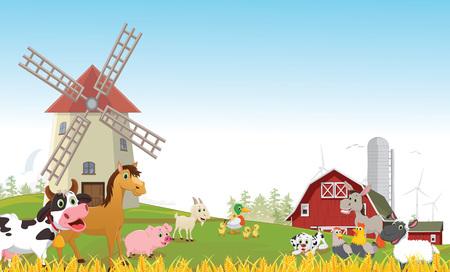 illustration of happy farm animal cartoon