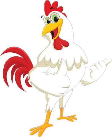 Happy rooster cartoon giving thumb up