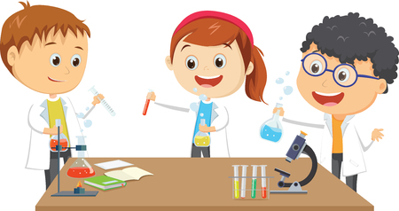 happy little students on chemistry lesson in lab experiment Ilustração