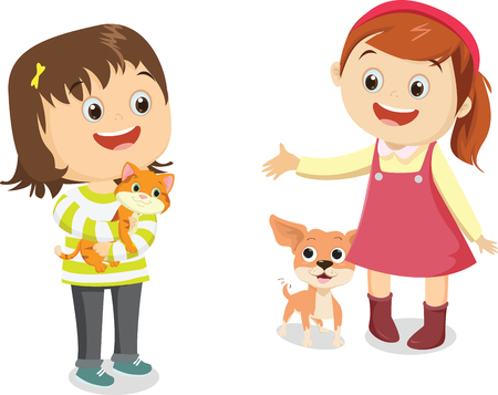 Vector illustration of happy kids with his pet
