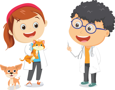 Illustration of happy children with veterinary profession costume Çizim