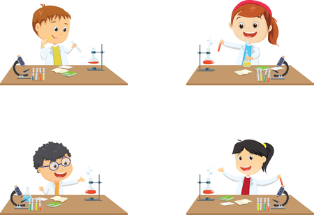 happy little students on chemistry lesson in lab experiment Çizim