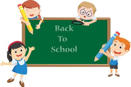 illustration of happy school kids cartoon. back to school concept