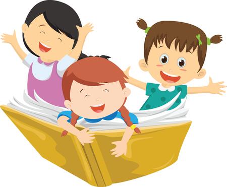 happy kids flying on a book Çizim