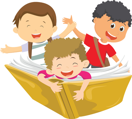 happy kids flying on a book Ilustração
