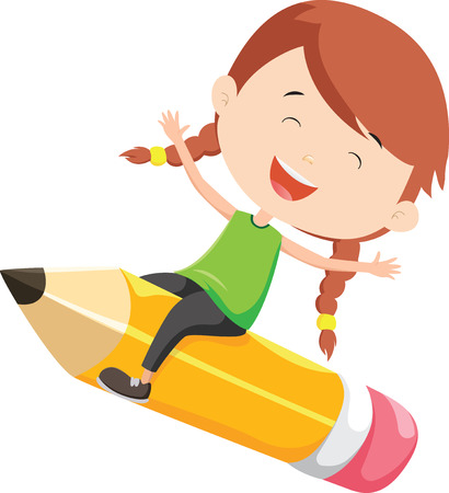 happy girl flying on a pencil