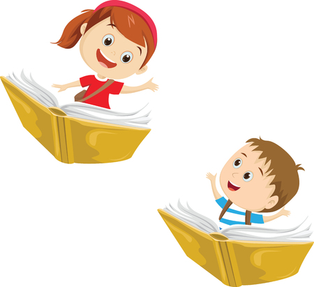 happy kids flying on a book Stock Illustratie