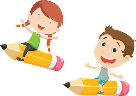 illustration of Boy and girl flying on a pencil Çizim