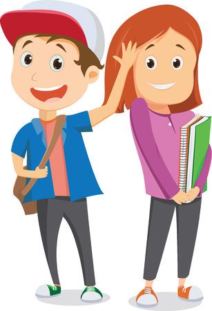 happy school children  going to school and waving goodbye. back to school concept