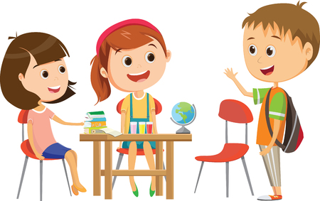 śliczna mała uczennica czeka na naukę jednego z jej kolegów z klasy przy biurku Ilustracje wektorowe