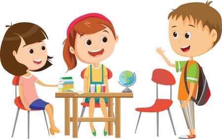 schattig klein schoolmeisje wacht op een van haar klasgenoten aan de balie om te studeren Vector Illustratie
