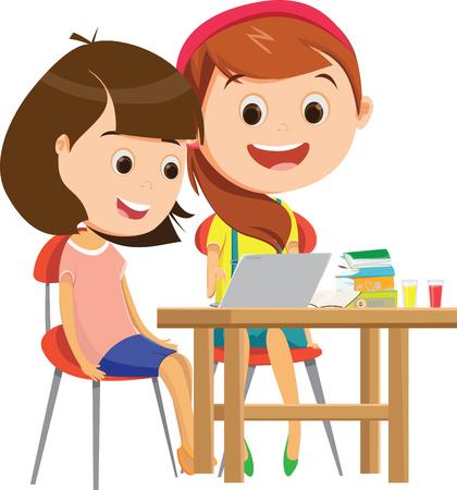 Colegialas felices estudiando juntos en el escritorio