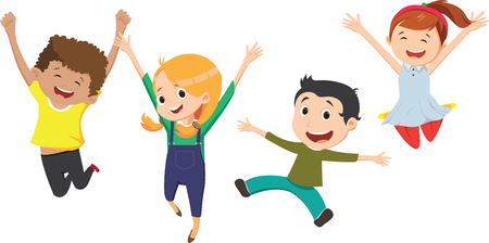 niños felices saltando juntos con los brazos arriba niños felices saltando juntos con los brazos arriba Ilustración de vector