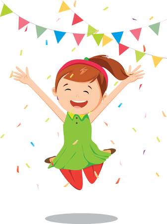 Little girl  jumping and having fun celebrating birthday Illustration