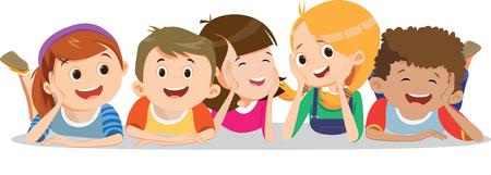 happy smiling kids lying on the floor Ilustração