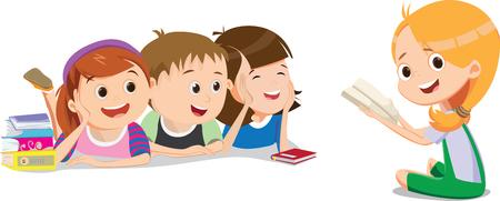 happy kids are listening their friend in reading lesson Illusztráció