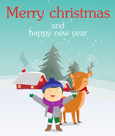 Christmas greeting card of a boy with his reindeer