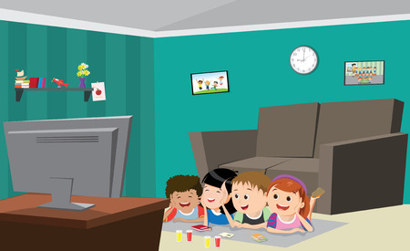 Vector Illustration Of children Watching Tv Иллюстрация