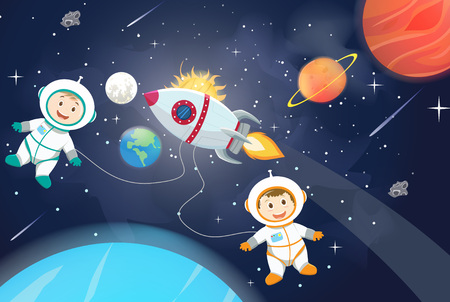 space scenes. Astronaut on the planet with an  spaceship.