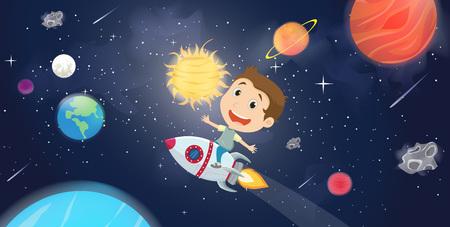 happy kids riding a spaceship