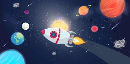 Illustration of flying rocket spacer with space galaxy and planets Illustration