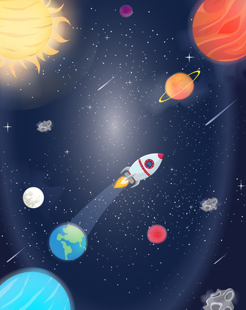 Illustration of flying rocket spacer with space galaxy and planets