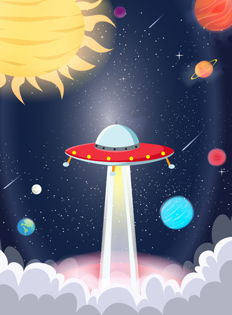 UFO spaceship with galaxy and planet Çizim