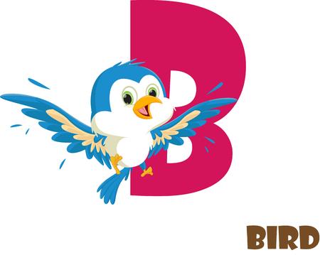 Cute Animal Zoo Alphabet. Letter B for bird Çizim
