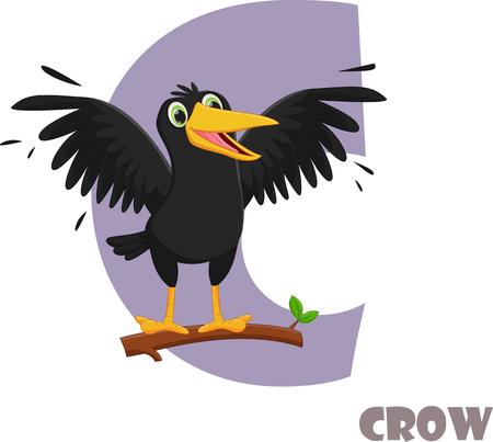 Cute Animal Zoo Alphabet. Letter C for crow 向量圖像