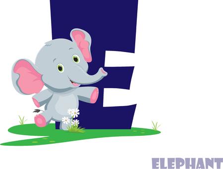 Cute Animal Zoo Alphabet. Letter E for elephant Çizim