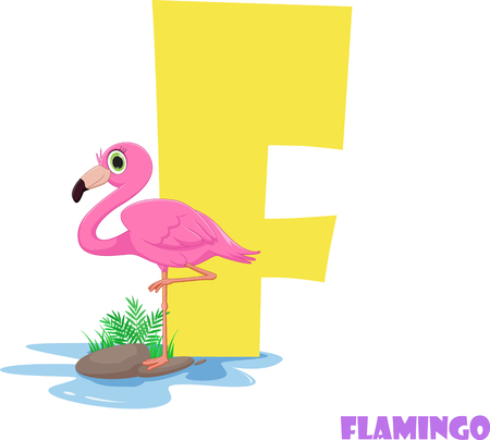 Cute Animal Zoo Alphabet. Letter F for flamingo