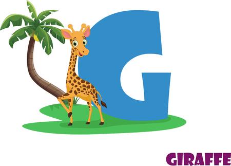 Cute Animal Zoo Alphabet. Letter G for giraffe