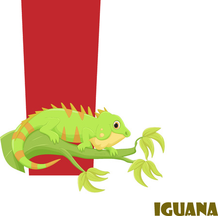 Cute Animal Zoo Alphabet. Letter I for iguana