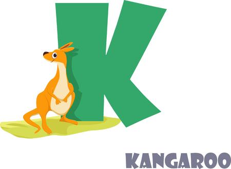 Cute Animal Zoo Alphabet. Letter K for kangaroo Çizim
