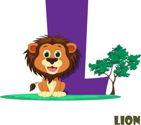 Cute Animal Zoo Alphabet. Letter L for lion