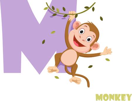 Cute Animal Zoo Alphabet. Letter M for monkey Ilustração